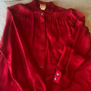 Haute Hippie Drapey Button Down Silk Blouse-size M